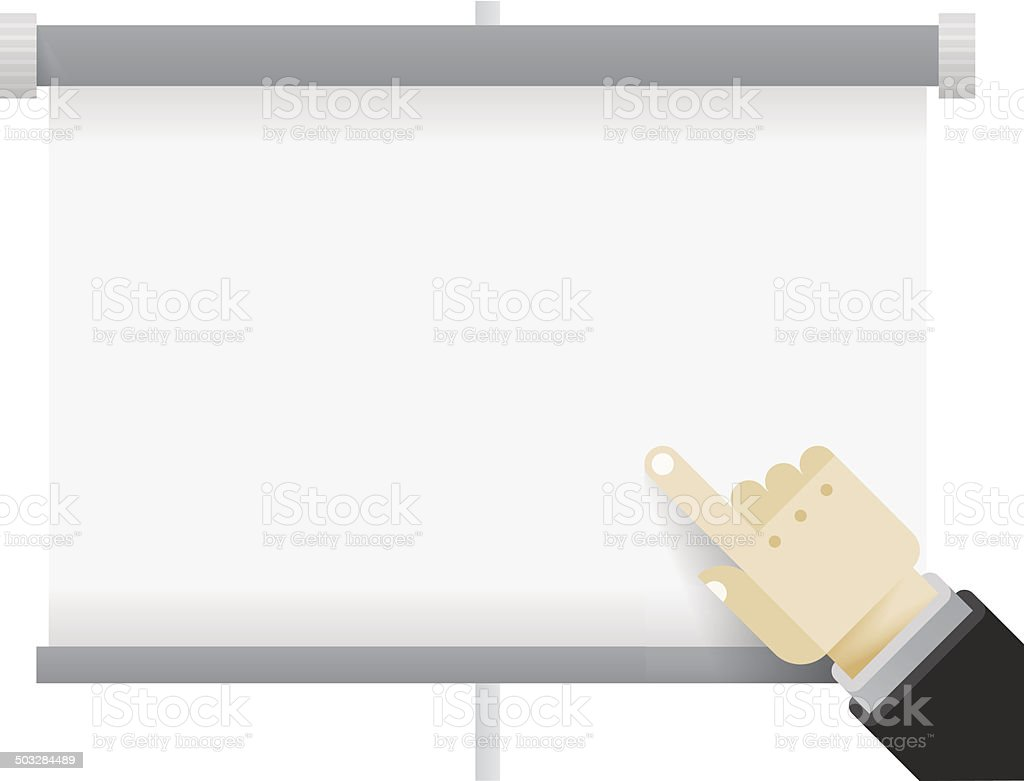 Business presentation display board with pointing businessman hand. royalty-free stock vector art