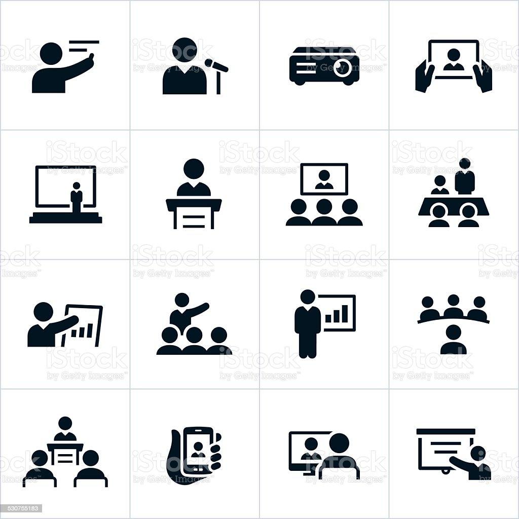 Business Presentation Icons vector art illustration