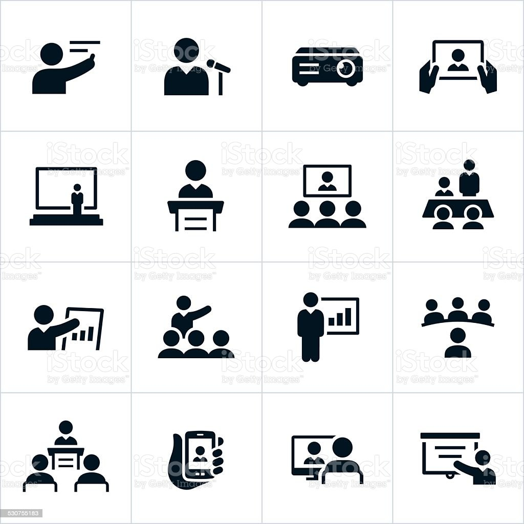 Business Presentation Icons vector art illustration