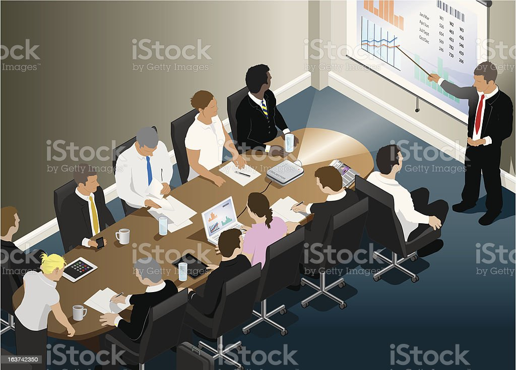 Business presentation meeting in an office vector art illustration