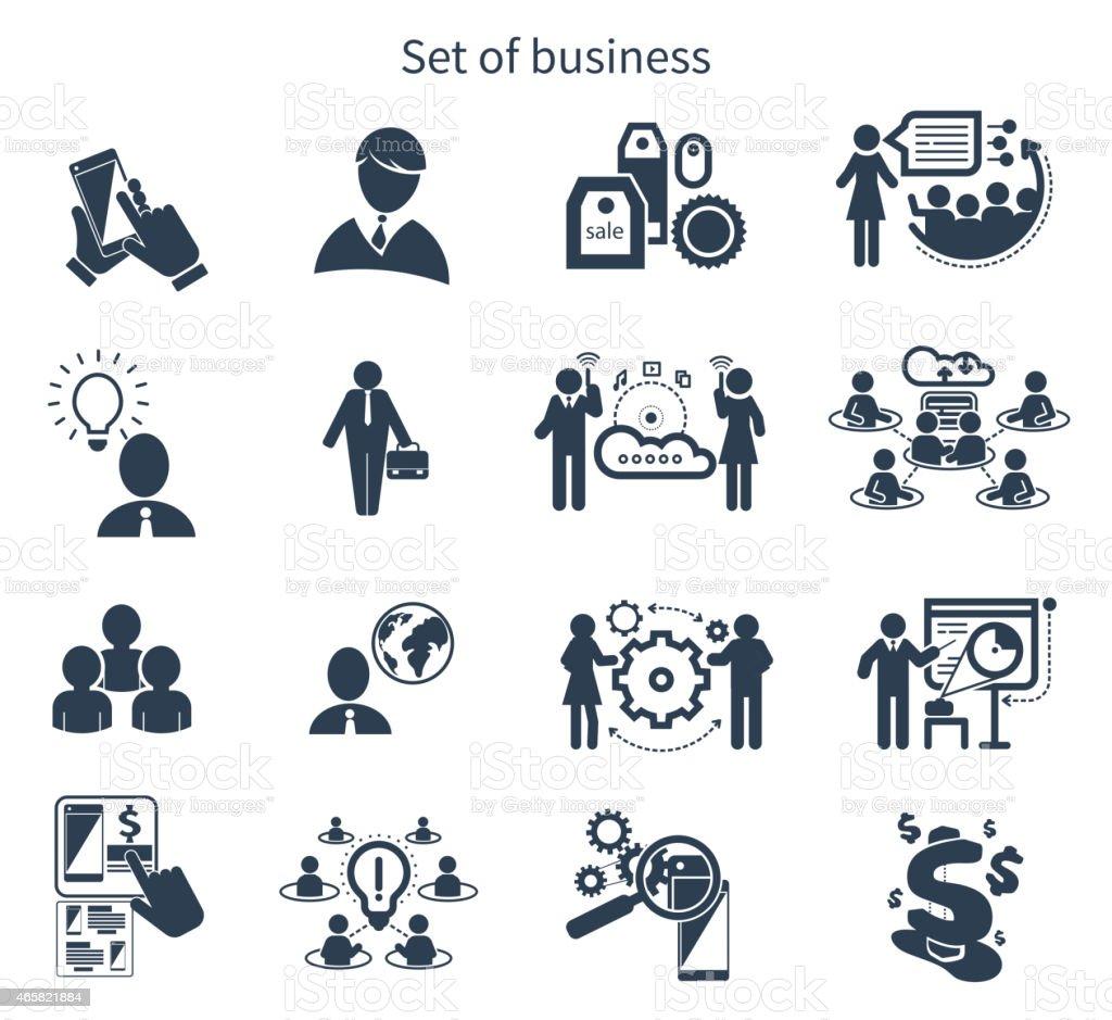 Business presentation teamwork concept icons vector art illustration
