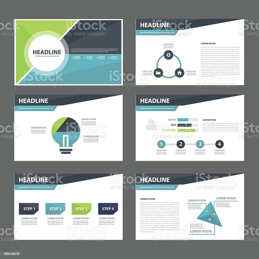 Business presentation template flat design set vector art illustration