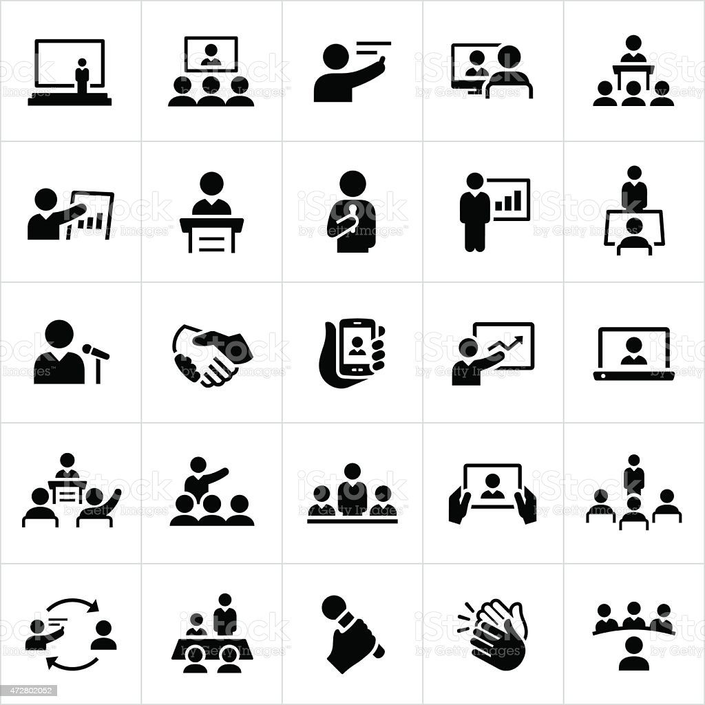 Business Presentations and Meetings Icons vector art illustration