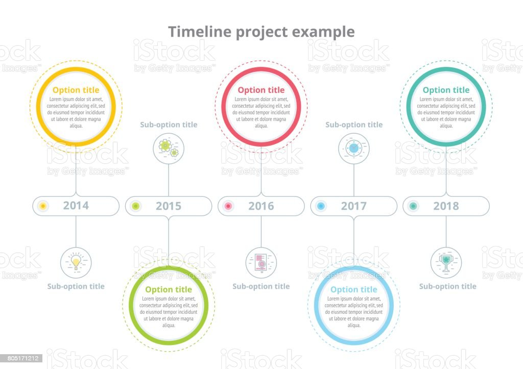 Business Process Chart Infographics With Step Circles Circular