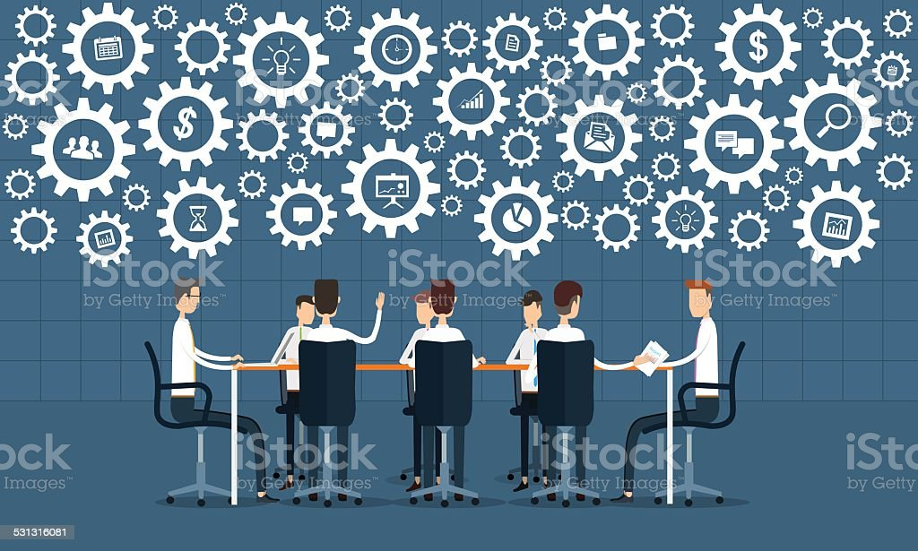 business process teamwork meeting and brainstorm concept vector art illustration
