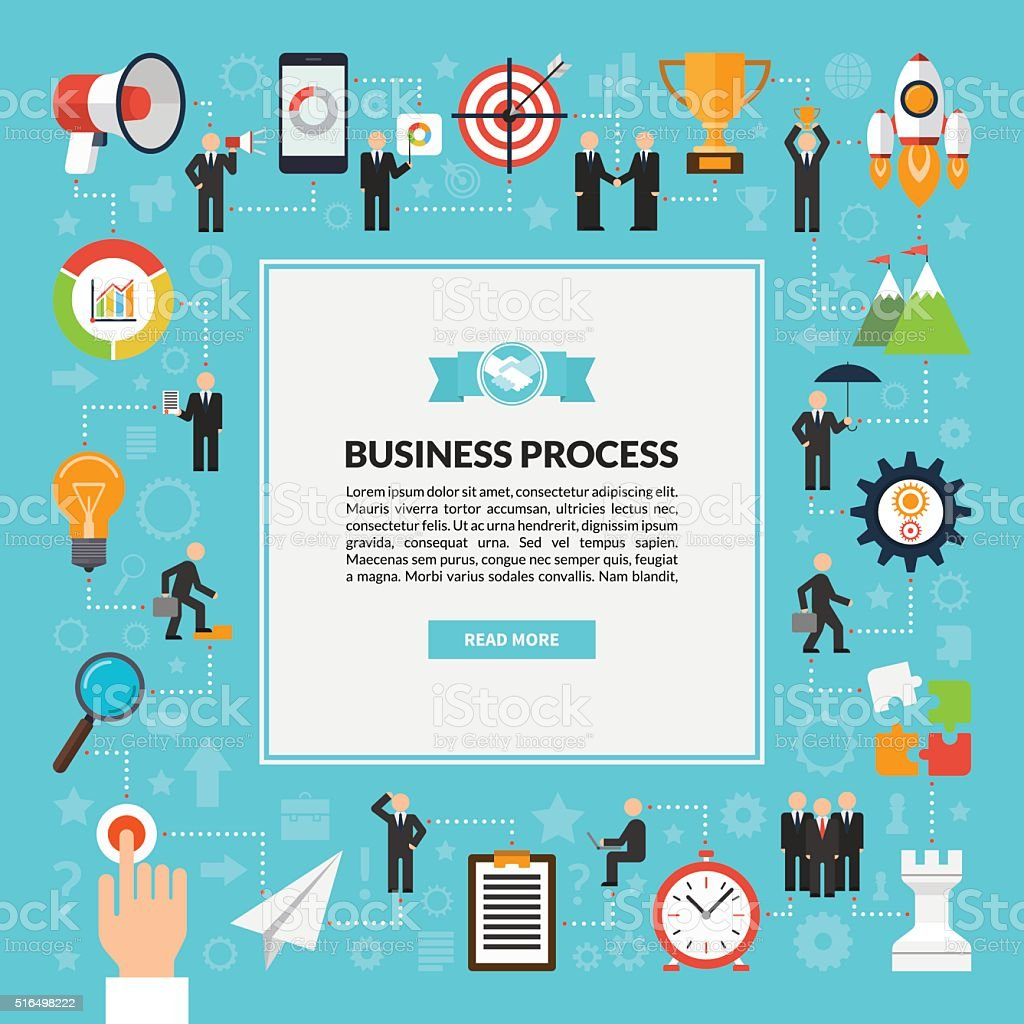Business process vector background in flat style vector art illustration
