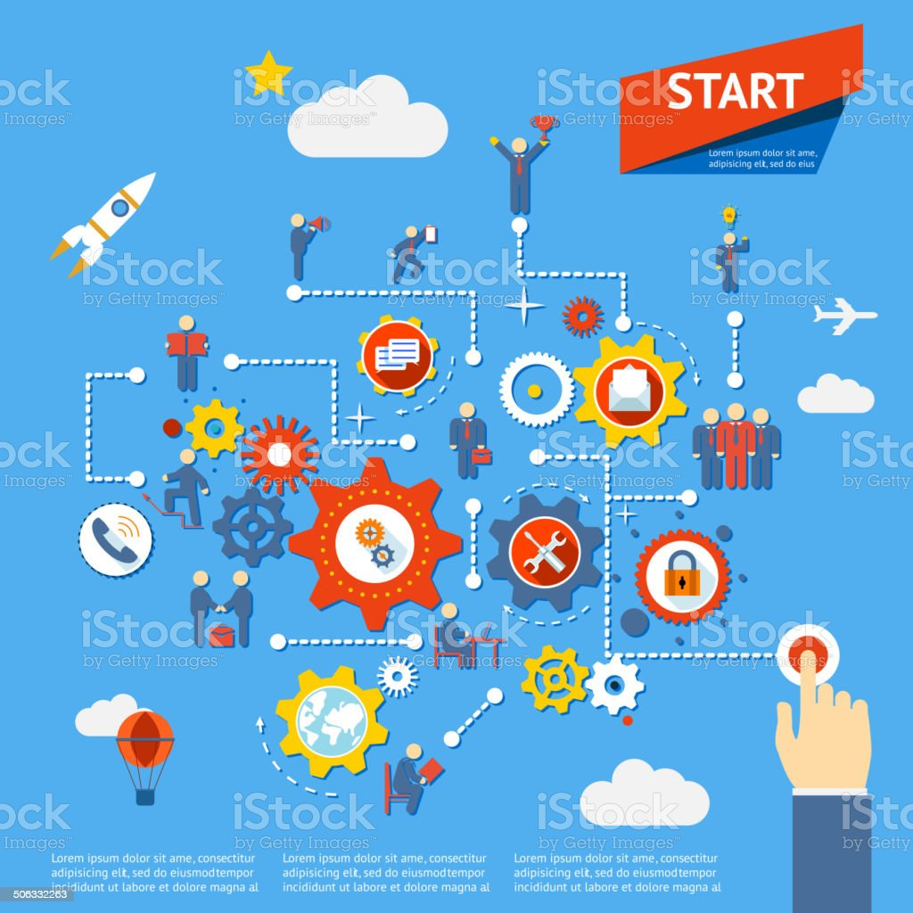 business process vector art illustration
