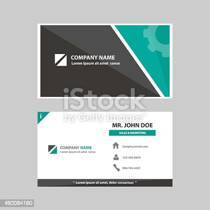 Business Profile Card Company Template Flat Design Stock Vector