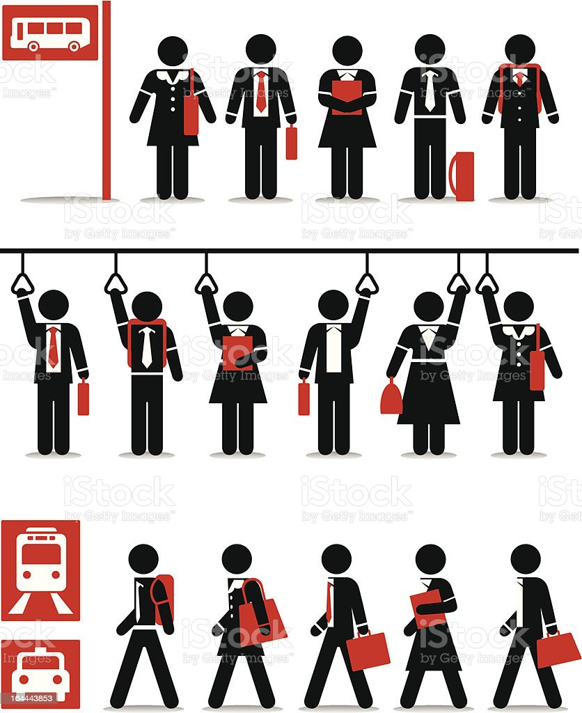 Business Public Transport - Vivid Stick Figure Series vector art illustration
