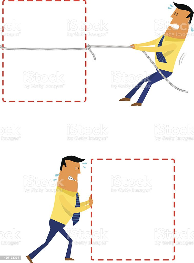 Business push and pull vector art illustration