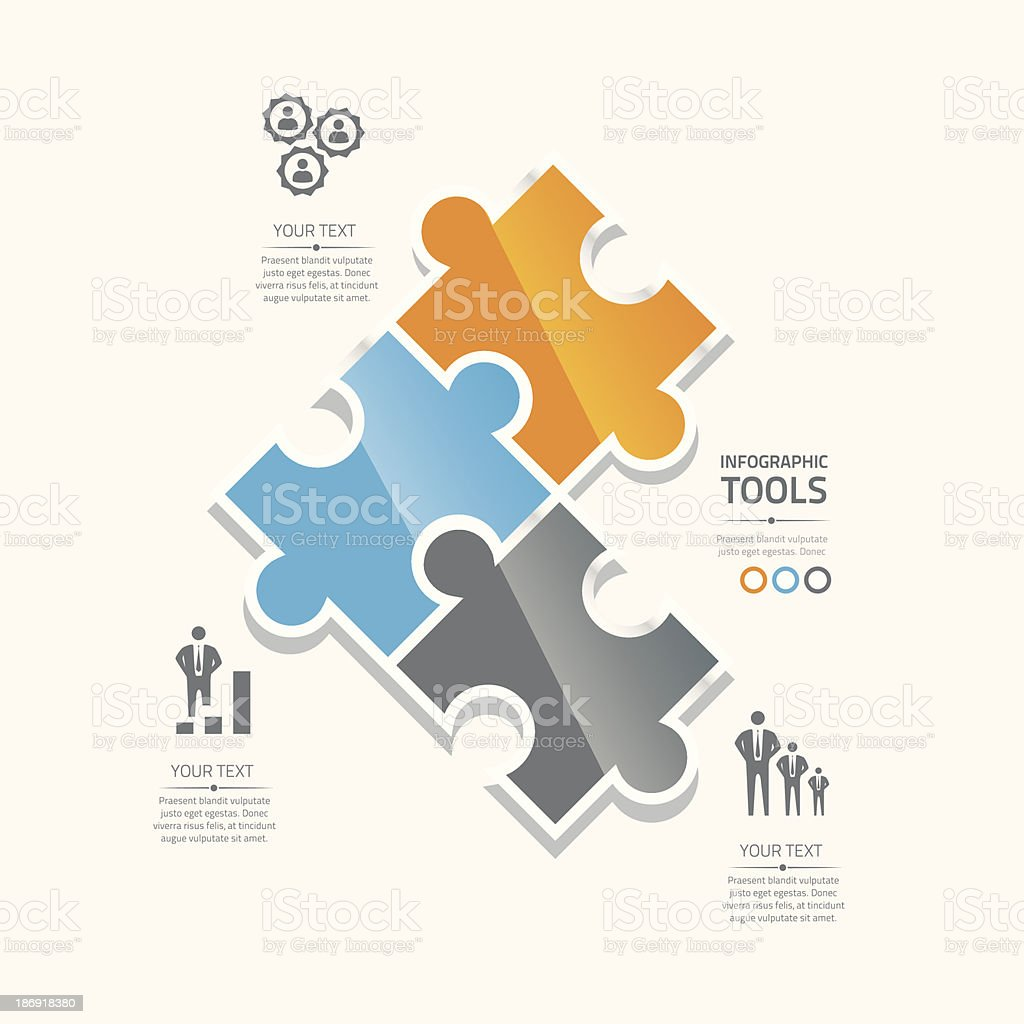 Business puzzle pieces infographic option tools vector royalty-free stock vector art