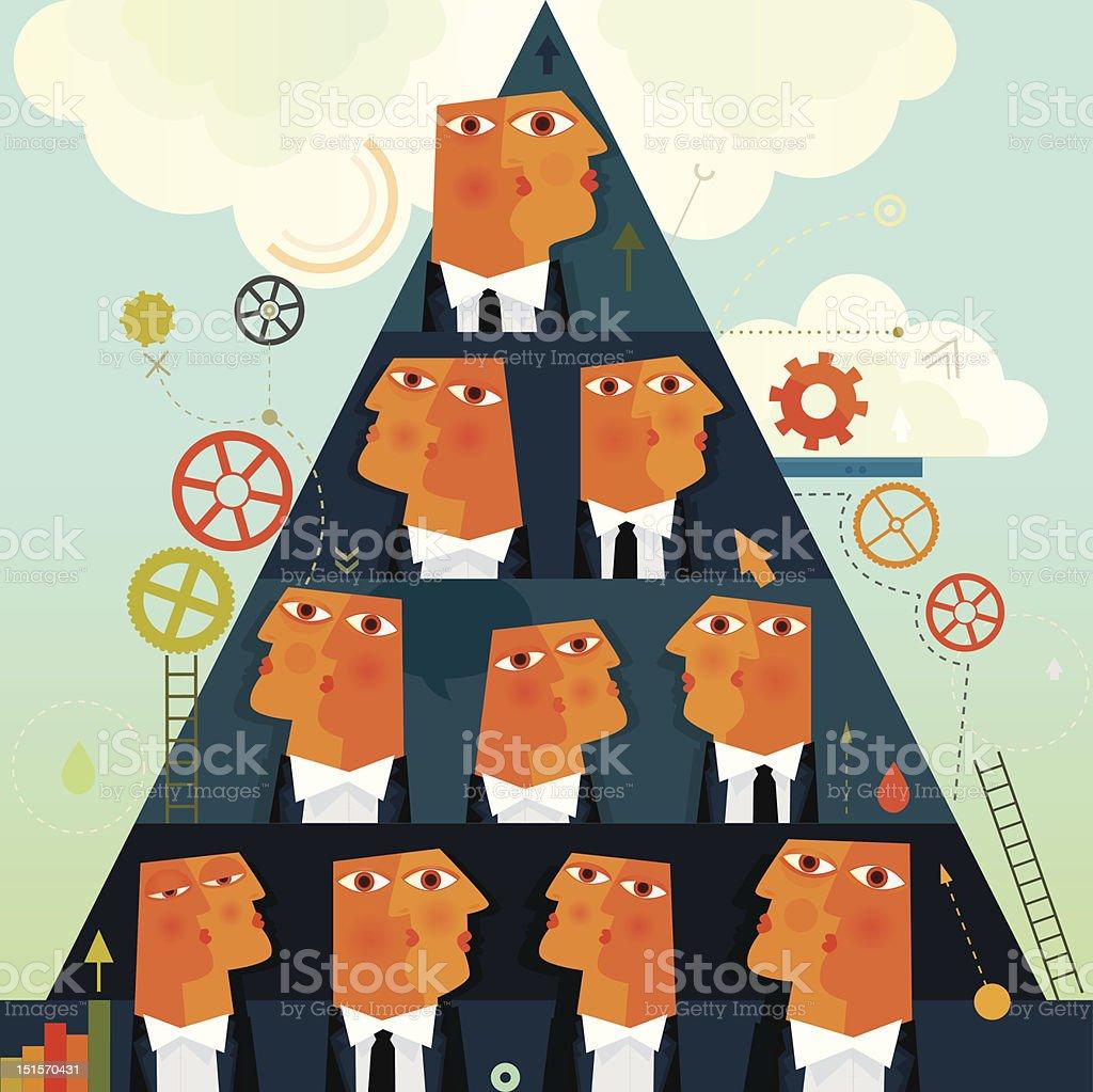 Business Pyramid System vector art illustration