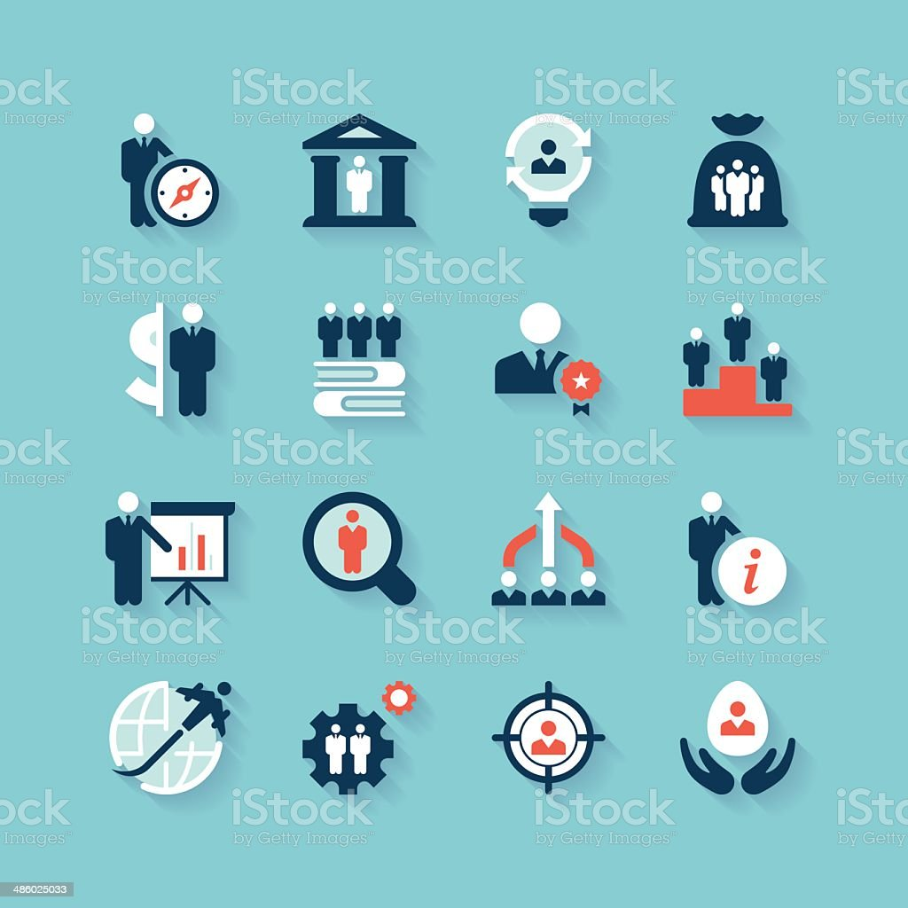 Business & Recruitment Icon Set | Aqua Series vector art illustration