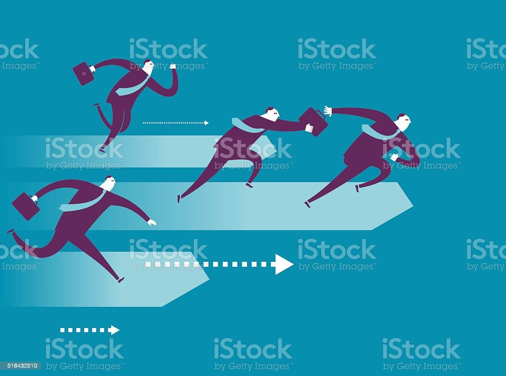 Business relay race vector art illustration
