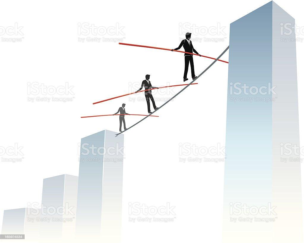 Business Risk Reaching High Graph vector art illustration