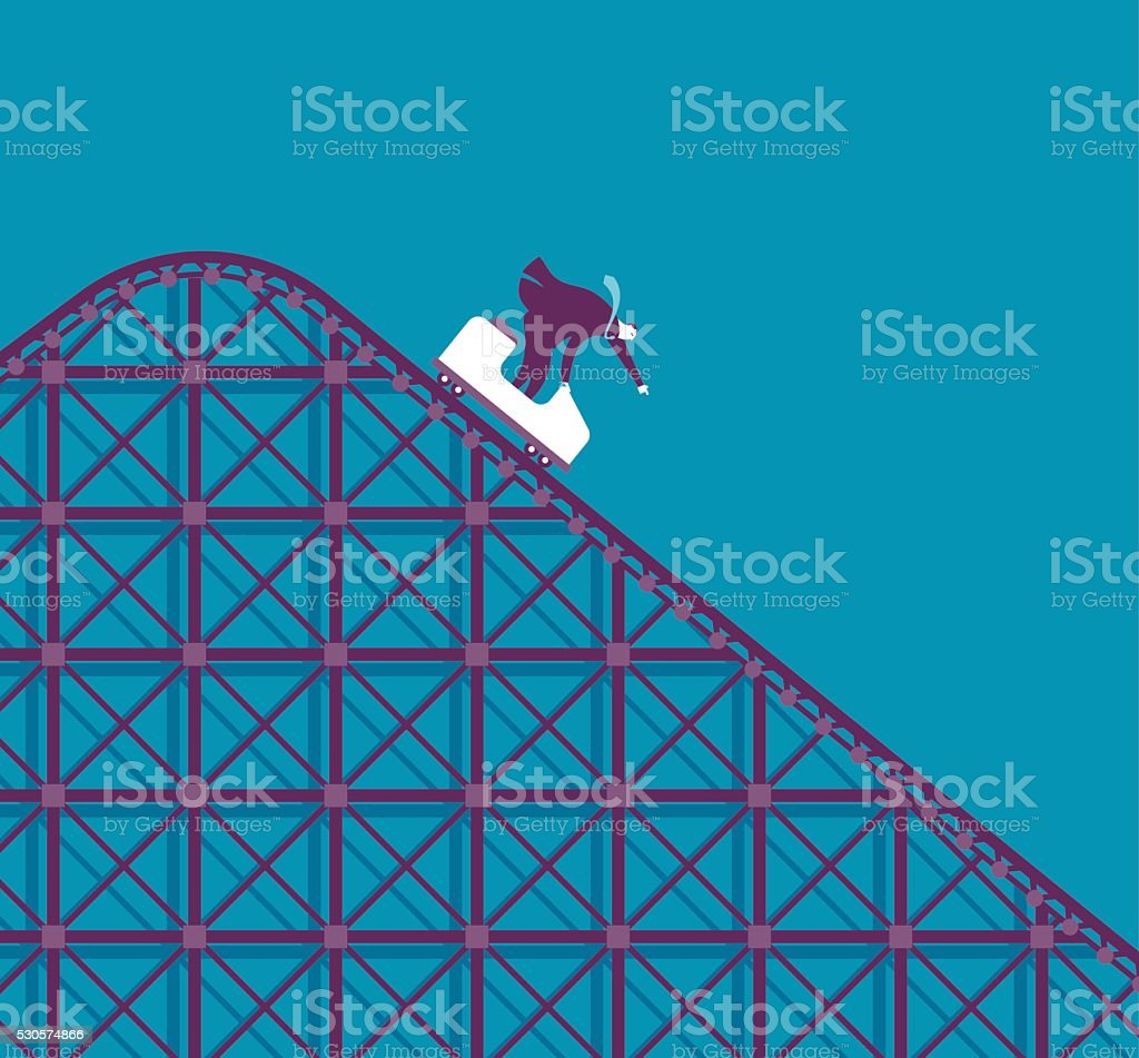 Business Roller coaster vector art illustration