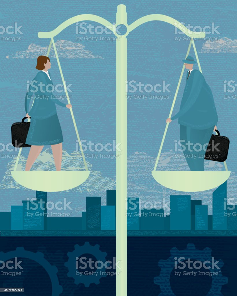 Business scales equality concept with business woman and man vector art illustration