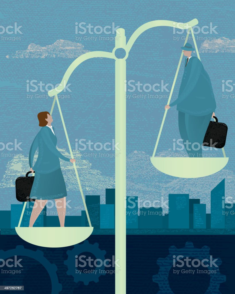 Business scales inequality concept with business woman and man vector art illustration