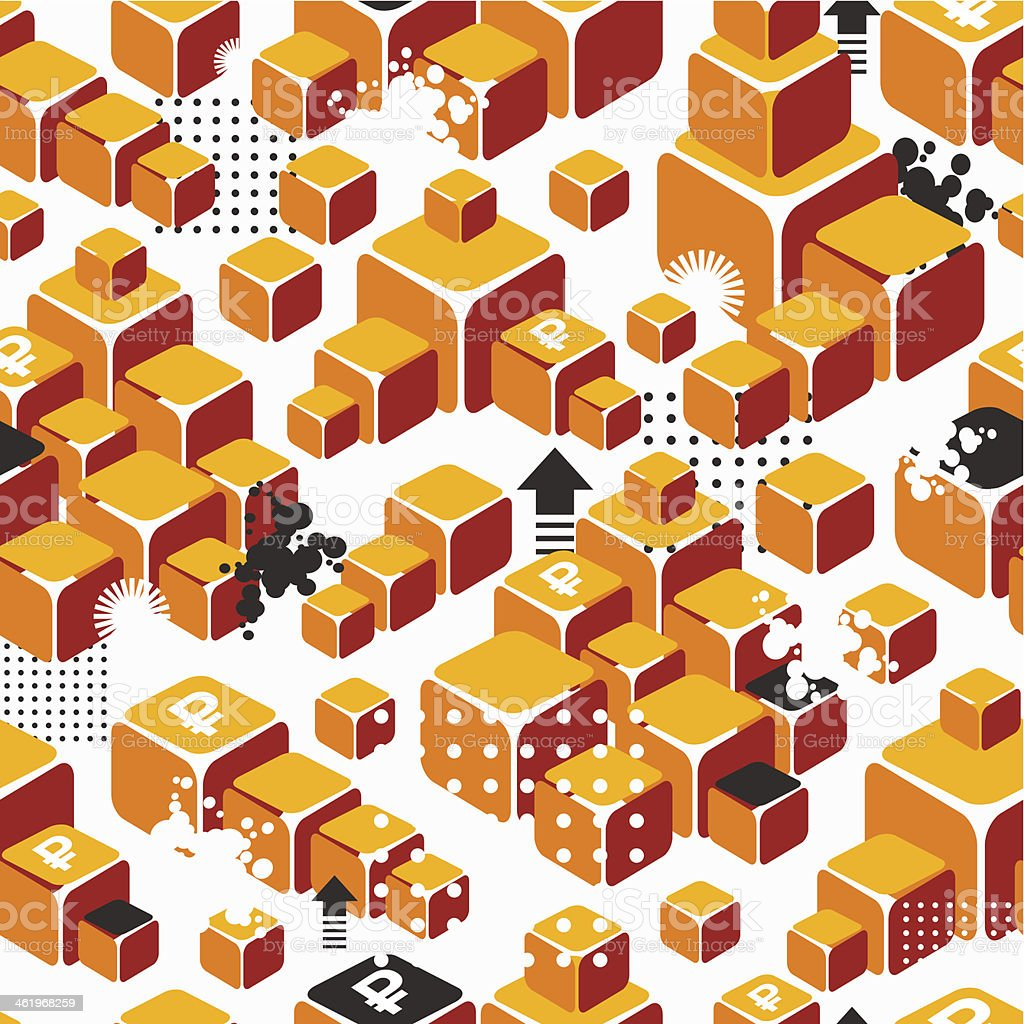 Business seamless pattern with gold ingots. vector art illustration