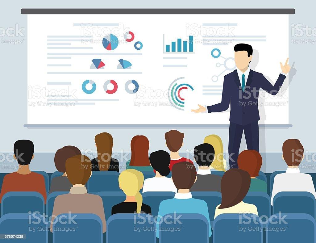 Business seminar speaker doing presentation and professional training vector art illustration