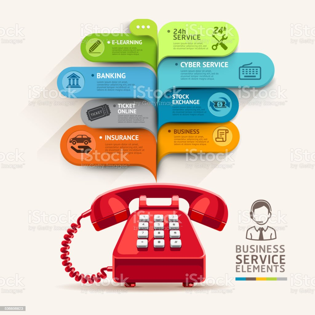 Business service icons and telephone with bubble speech template. vector art illustration
