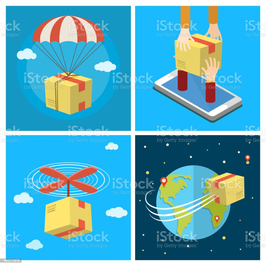 Business set. Concept of delivery service. vector art illustration