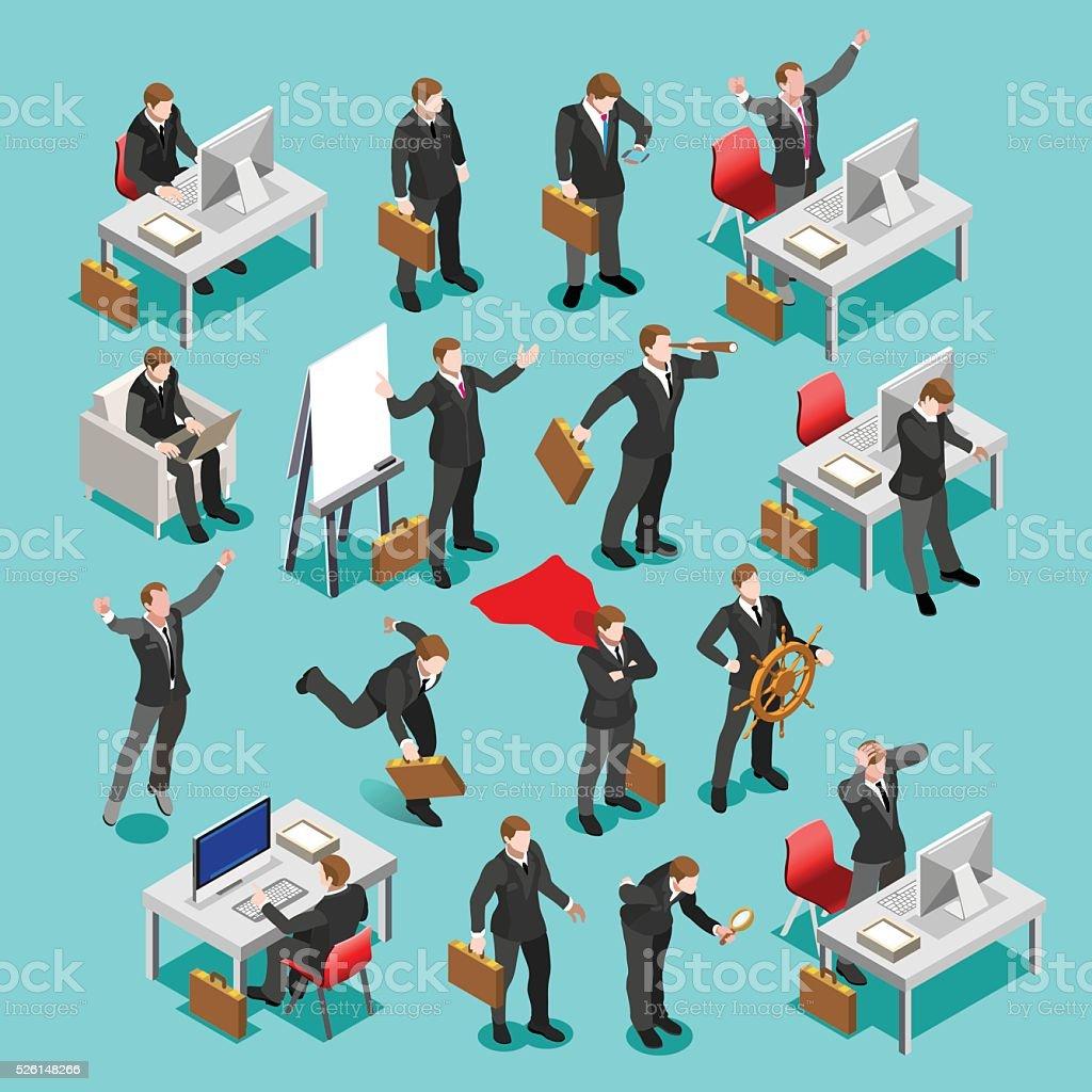 Business Set Isometric People vector art illustration