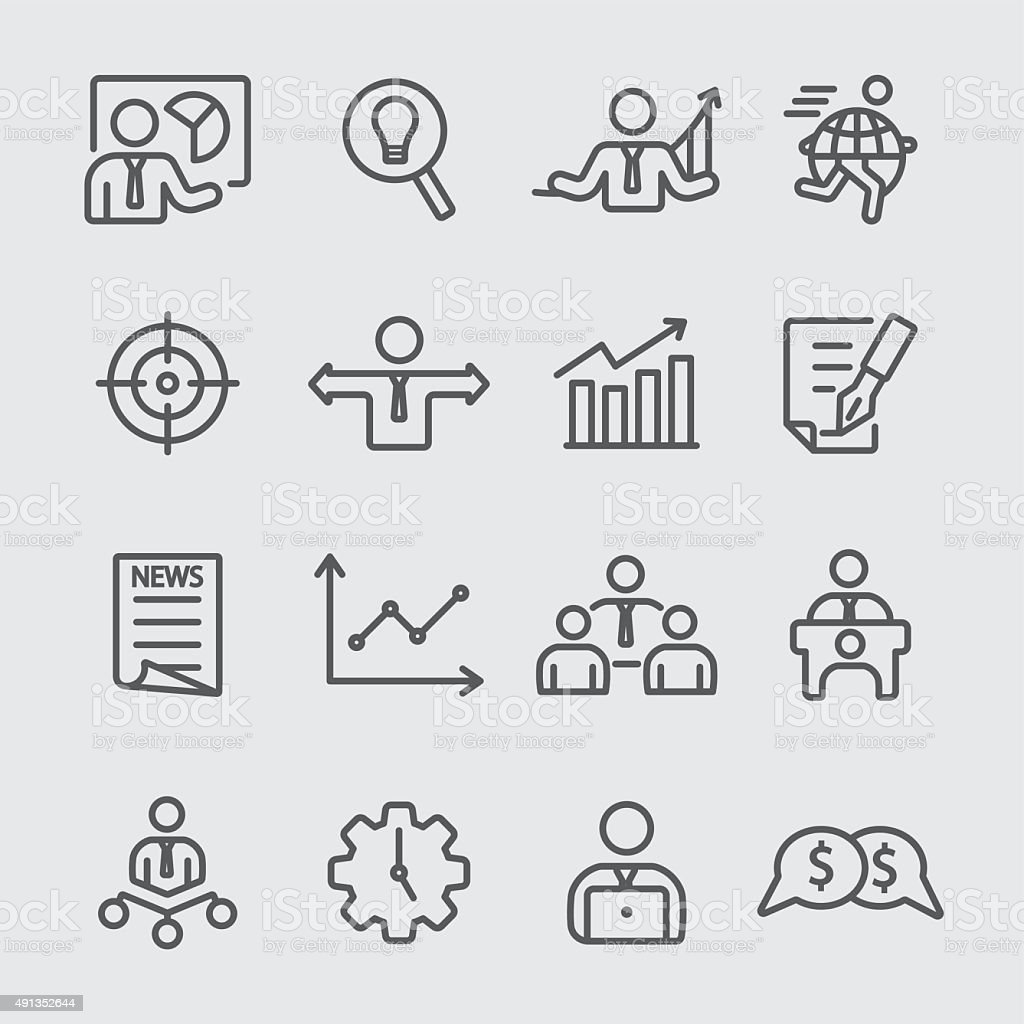 Business set line icon vector art illustration