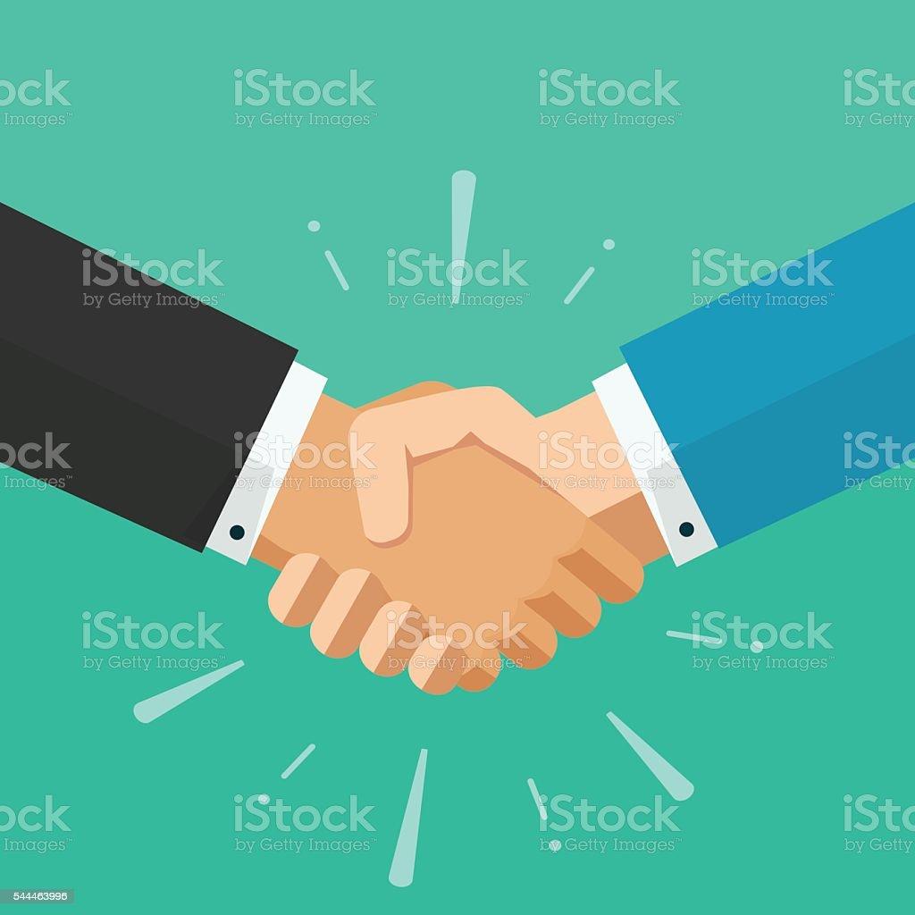 Business shaking hands vector, symbol of success deal, happy partnership vector art illustration