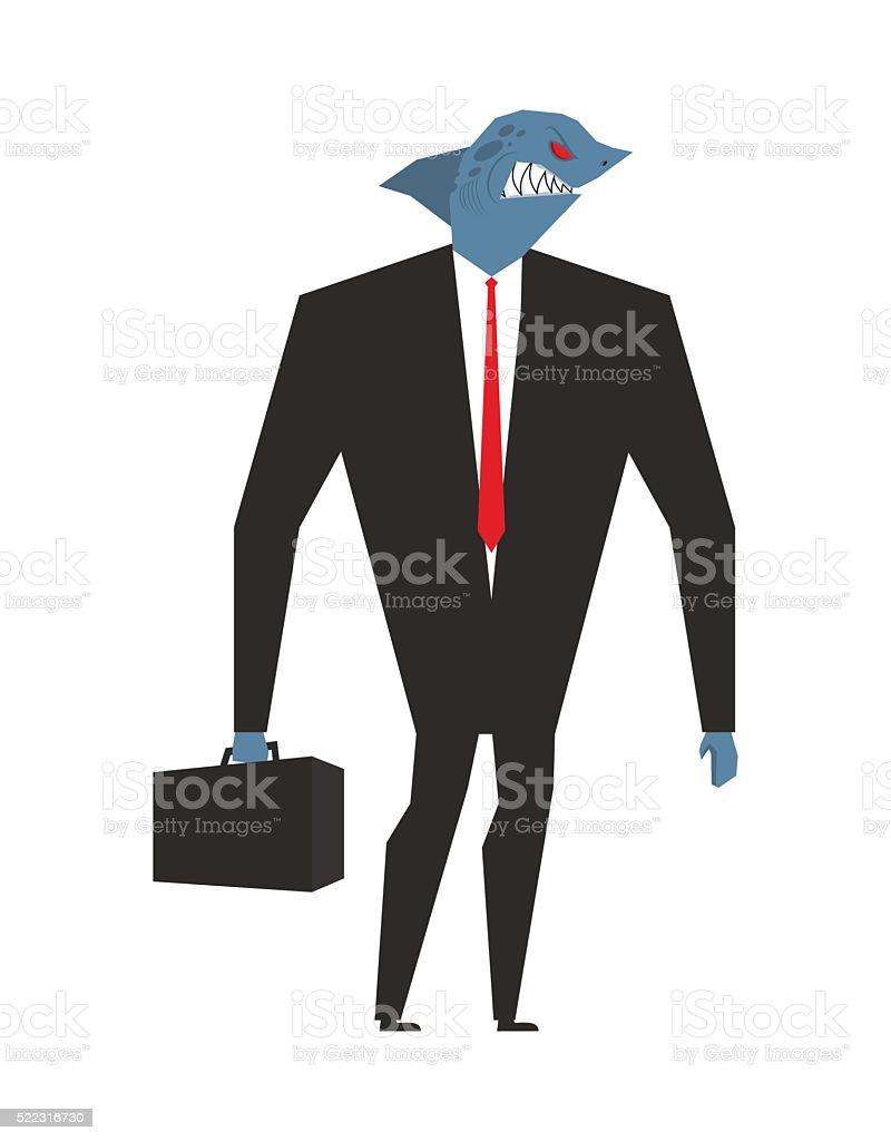 Business shark. Businessman with head sea predator. An evil pred vector art illustration