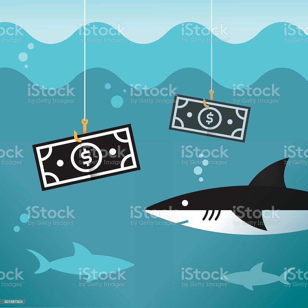 Business sharks. Dollar bill hooked on fishing hook. Profit concept vector art illustration