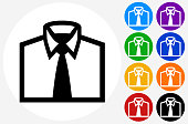 Business Shirt Icon on Flat Color Circle Buttons
