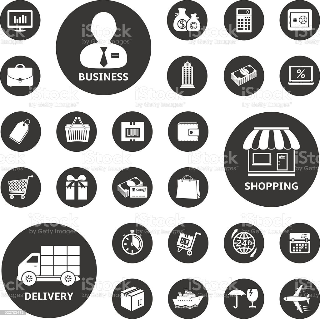 Business, shopping and delivery icon set vector art illustration