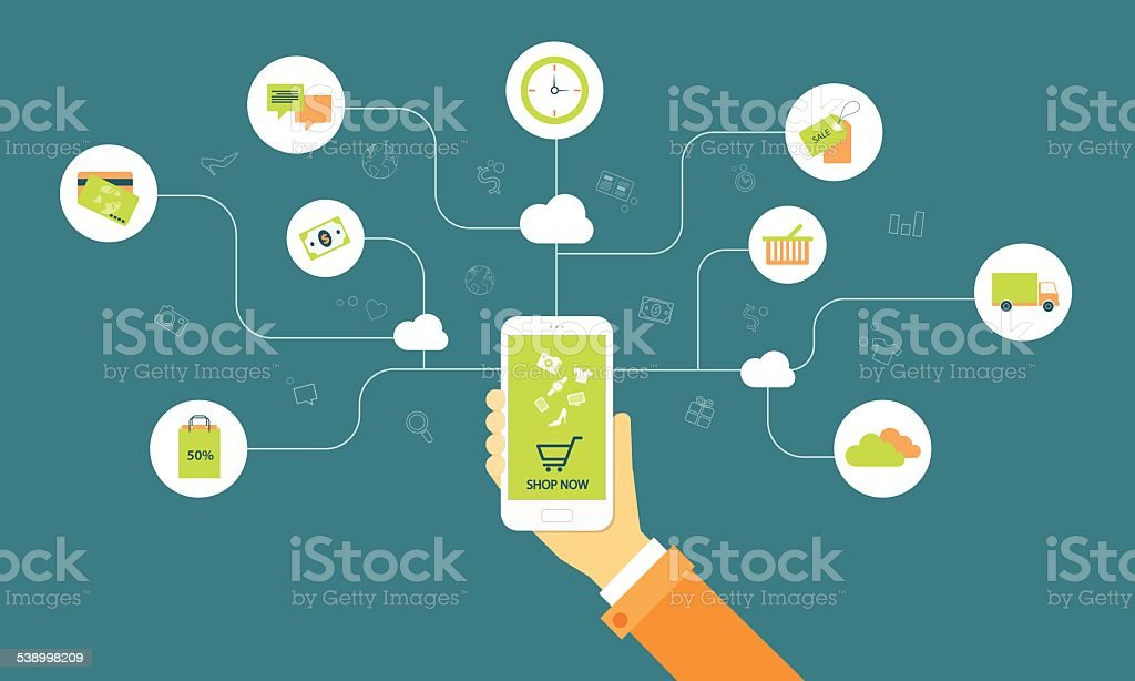 business shopping on line on cloud mobile concept vector art illustration