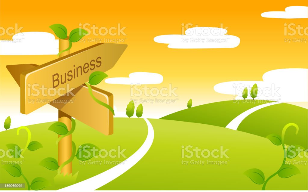 Business Sign boards on Green landscape royalty-free stock vector art