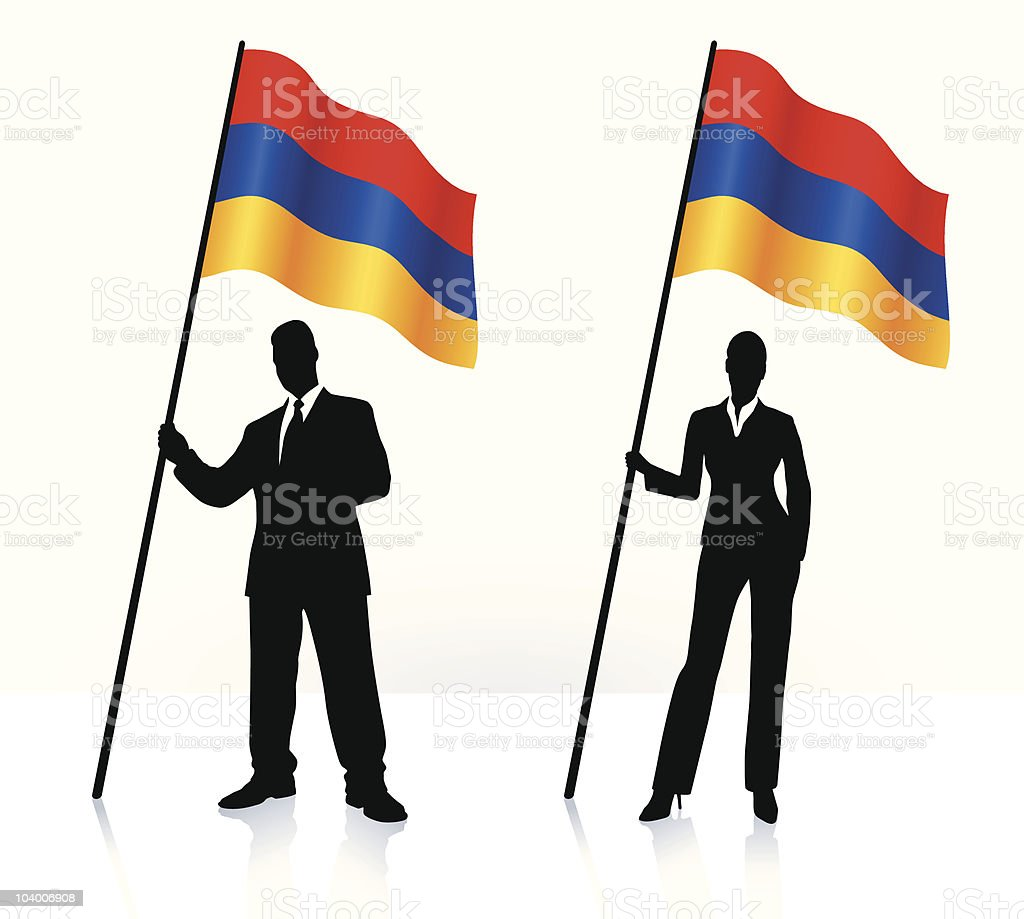 Business silhouettes with waving flag of Armenia royalty-free stock vector art