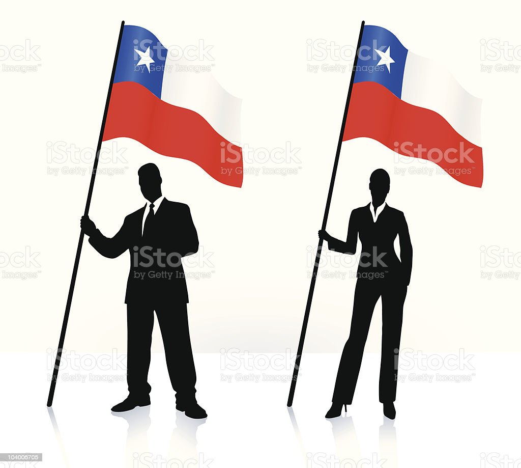 Business silhouettes with waving flag of Chile royalty-free stock vector art