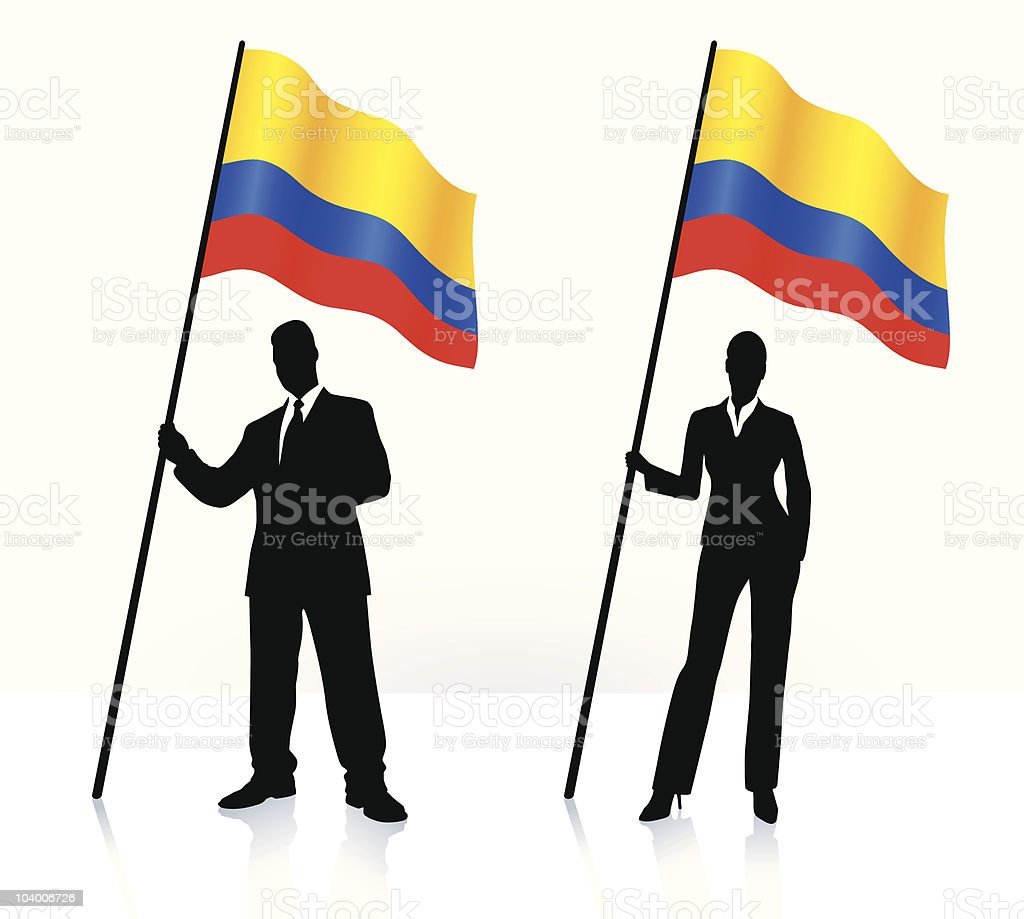 Business silhouettes with waving flag of Columbia royalty-free stock vector art