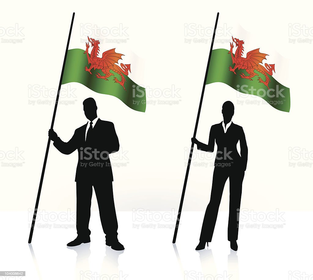 Business silhouettes with waving flag of Wales royalty-free stock vector art