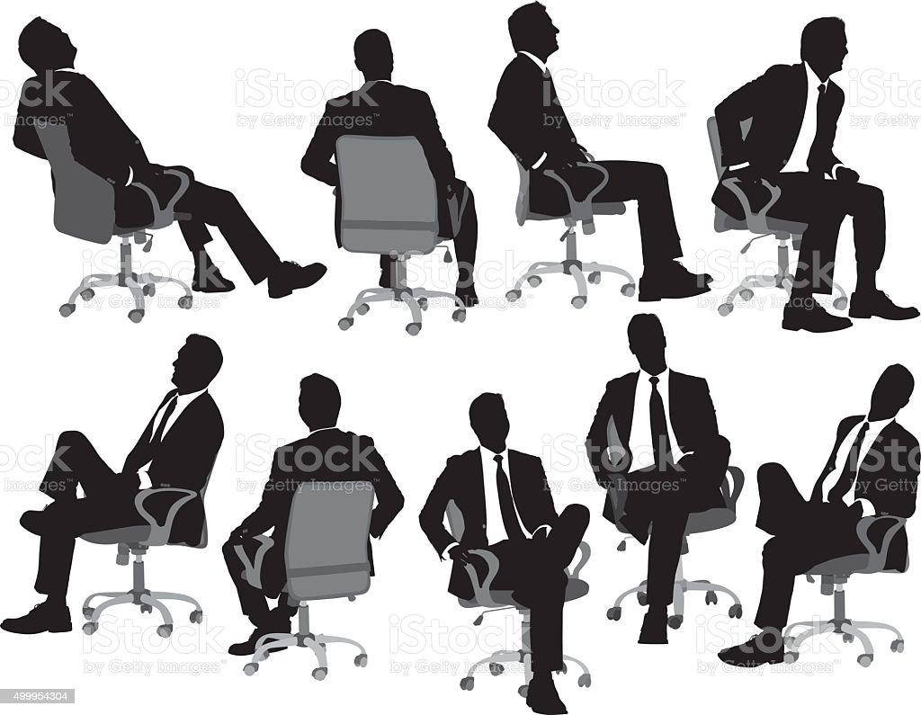Business sitting on chair vector art illustration