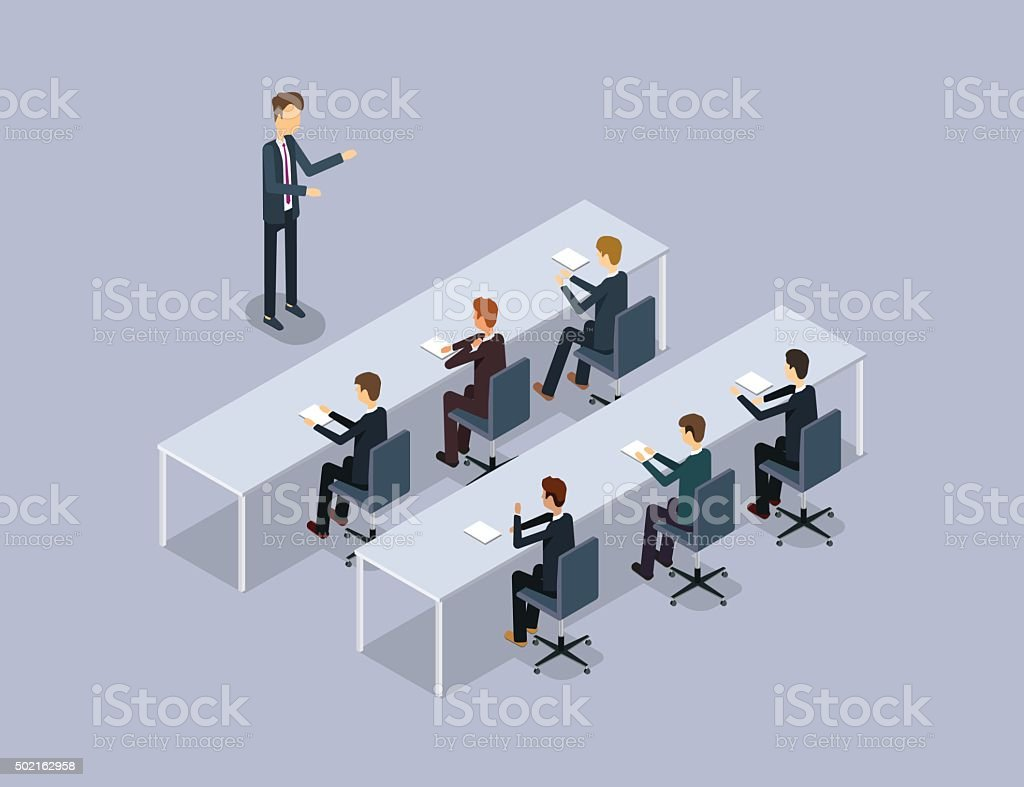business speaker on businessman .organization  meeting and training .stock training vector art illustration