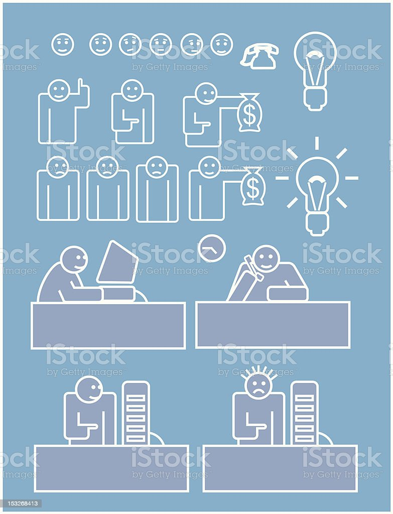 Business staff working hard royalty-free stock vector art