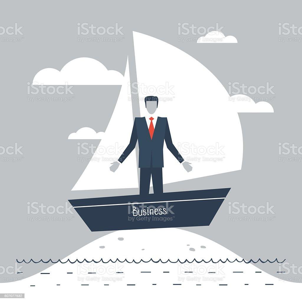 Business stagnation metaphor vector art illustration