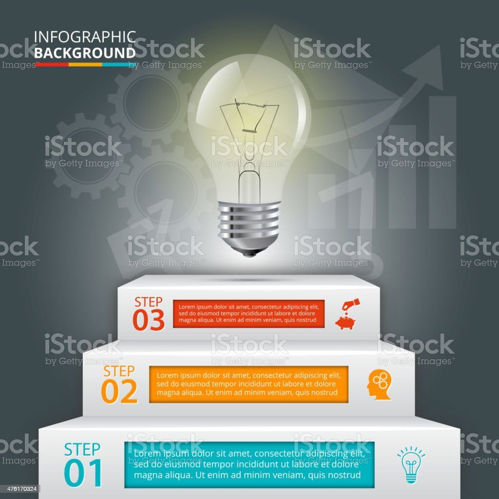 Business staircase conceptual infographic with lightbulb. vector art illustration