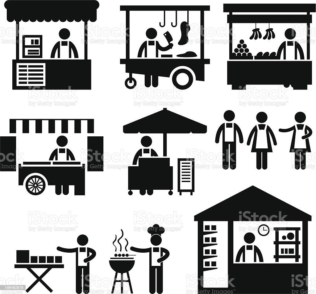 Business Stall Store Booth Market Pictogram vector art illustration