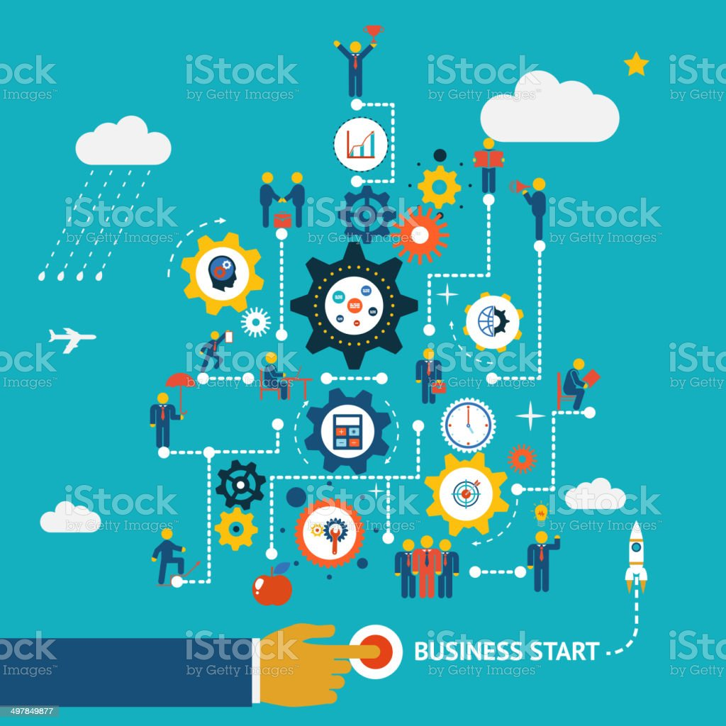 Business start infographics vector art illustration