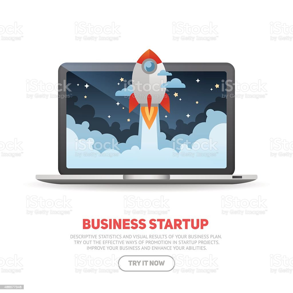 Business start up concept template with realistic laptop vector art illustration
