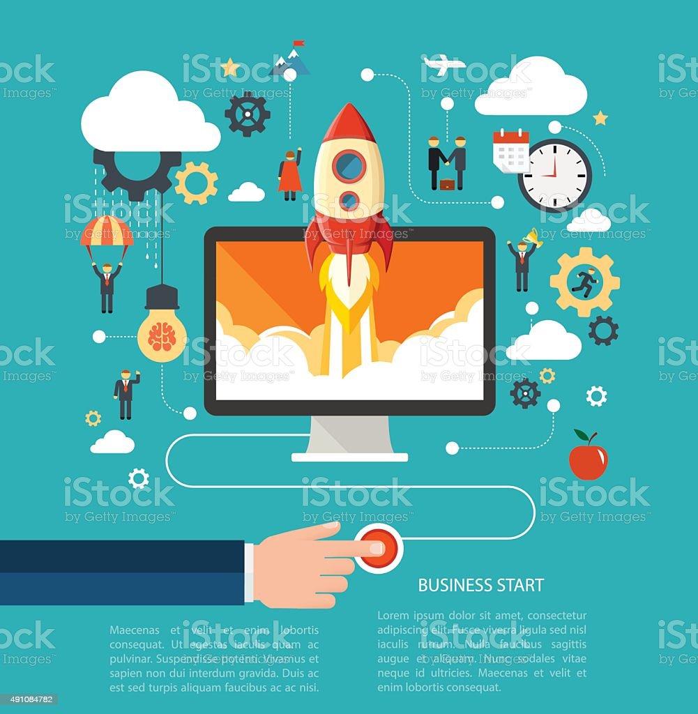 Business start vector art illustration