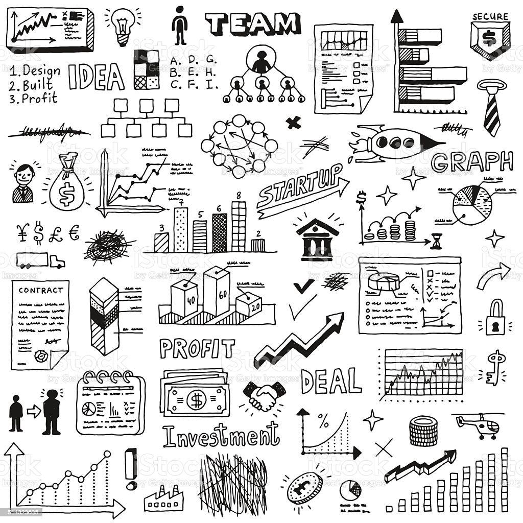 Business startup doodle sketch concept set 2. vector art illustration