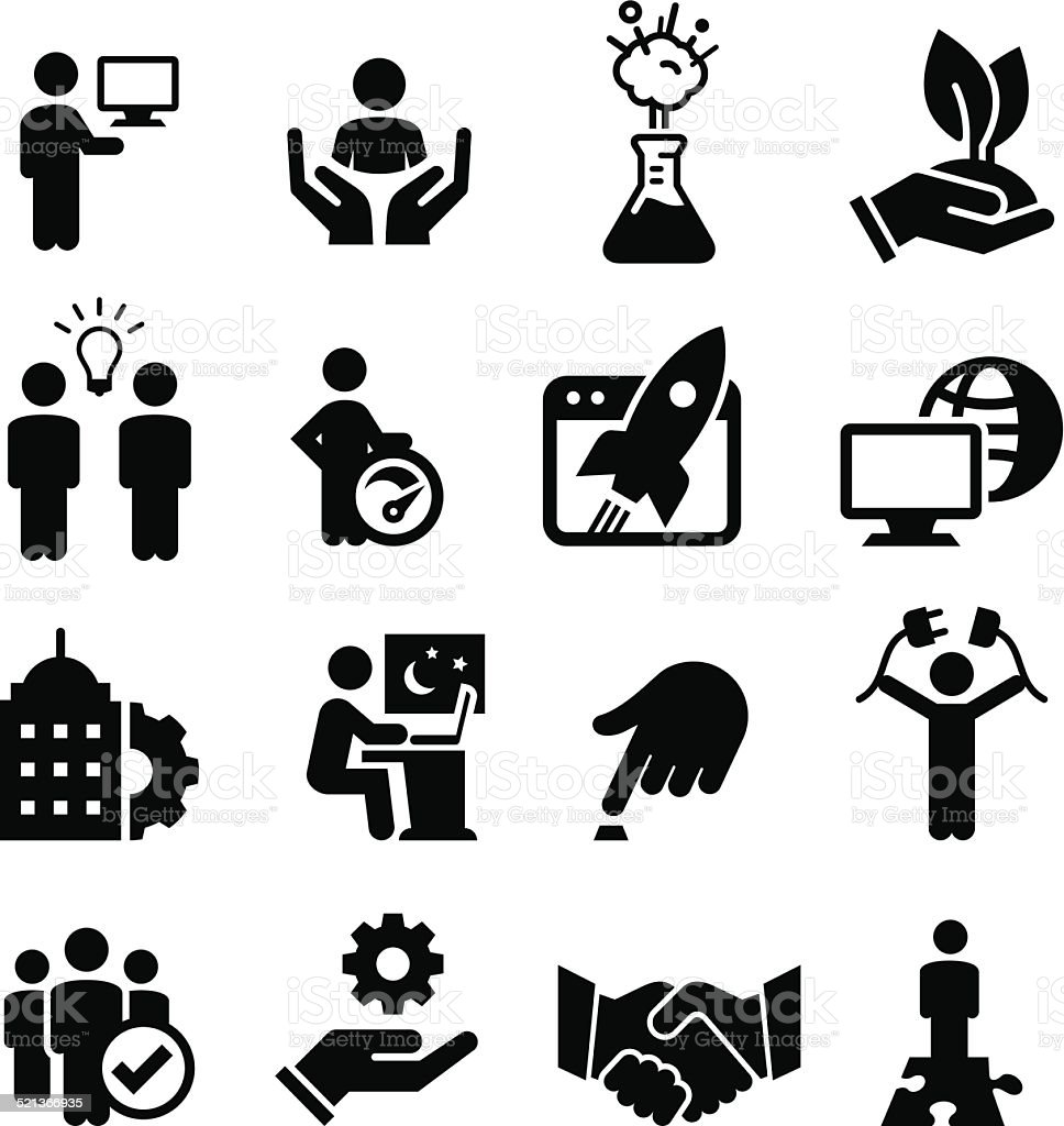 Business Startup Icons - Black Series vector art illustration